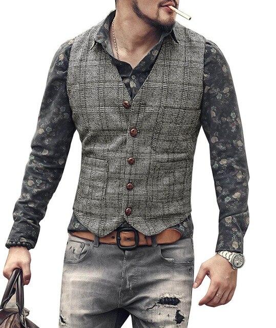 mens suit vests men brown black waistcoat vest man plaid steampunk jacket striped tweed v-neck slim fit gilet wedding clothing 5