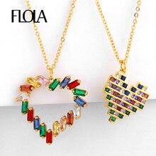 FLOLA Gold Filled Rainbow Heart Collar Zirconia Love Pendant Necklace Stone Jewelry collares de figuras nkep45