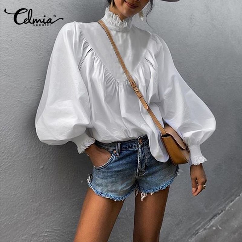 Stylish Chic Tops Celmia 2021 Autumn Office Shirt Women Lantern Sleeve High Collor Elegant Blouse Casual Patchwork Lace Blusas 7