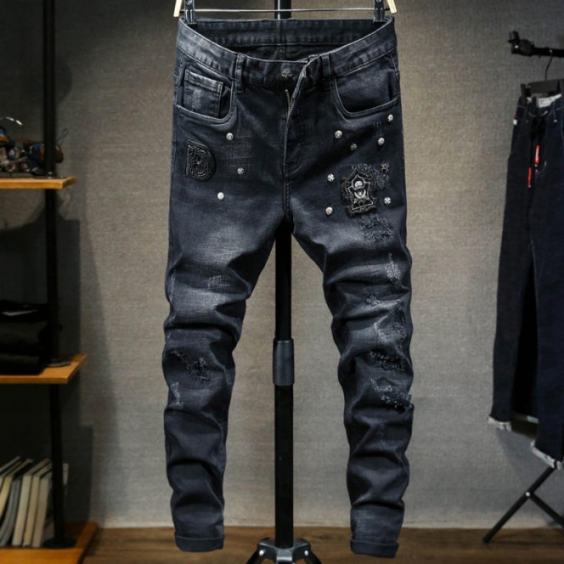 2018 Autumn And Winter Brushed Thick Black Jeans Heavy Craft Metal Nail Embroidered