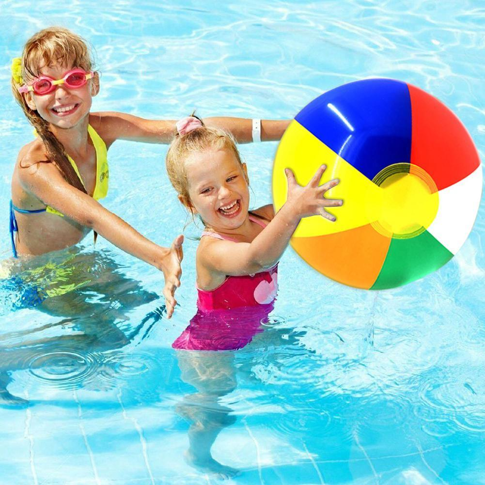 15/23/30/36/40cm Inflatable Beach Ball PVC Water Balloons Beach For Children Summer Rainbow-Color Swimming Toys Outdoor Bal H4M1