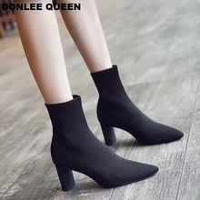 Fashion Stretch Ankle Boots For Women Pointed Toe Sock Boots Round High Heels Boots Women Knitted Elastic Boots zapatos de mujer цена