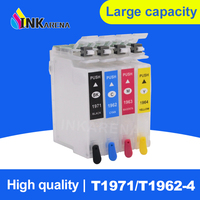 INKARENA T1971 XL Refillable Ink Cartridges For Epson T1961 T1951 XL EXPRESSIONXP 101 201 211 401 204 104 214 411 WF-2532 chips
