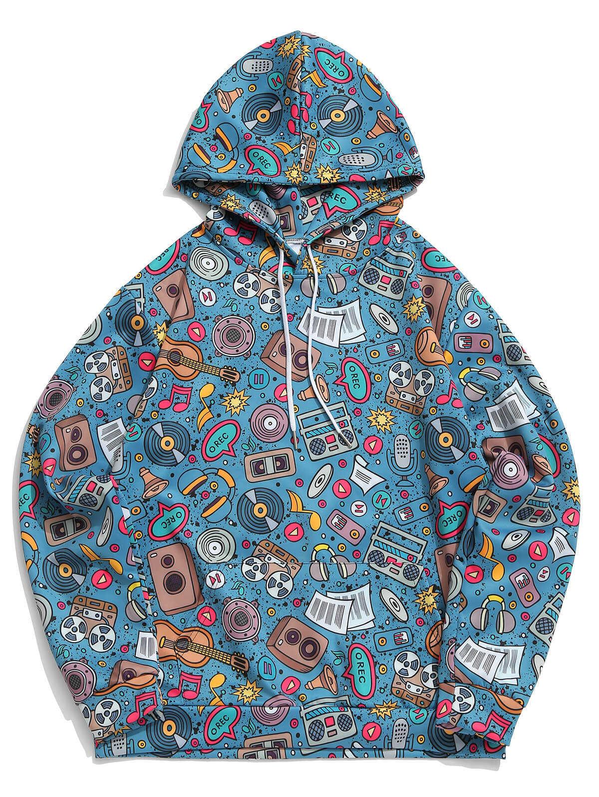 ZAFUL 남자 음악 요소 그래픽 프린트 캐주얼 까마귀 긴 소매 캥거루 포켓 탑스 캐주얼 힙합 웃긴 Streetwear 스웨트