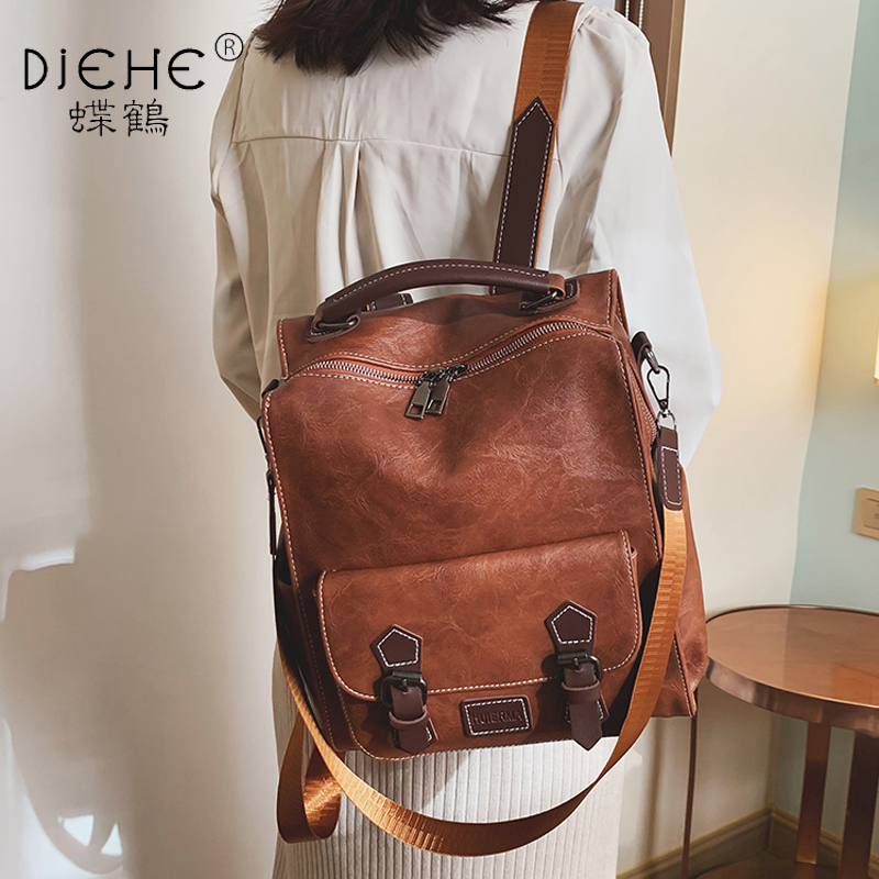 Preppy Large Capacity Pu Leather Women Backpack Fashion College School Bag Backpacks Vintage Classic Double Shoulder Bag Mochila
