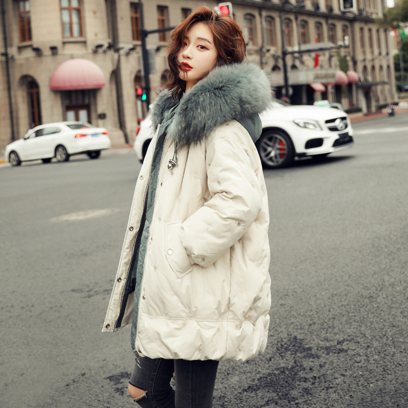 Down   jacket of 2018 new female fashion long white duck   down   Han Guodong door han edition show thin   coat   in winter