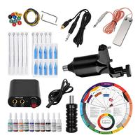 Professional Complete Tattoo Set Rotary Liner Machine Inks Power Supplies Complete Beginner Practice Easy to Use Tattoo Kit