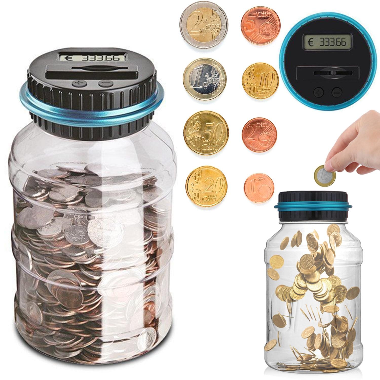 1.8L Banco contra la moneda electrónica Digital LCD recuento de monedas y ahorro de dinero caja de almacenamiento de monedas 1.5L USD EURO GBP dinero