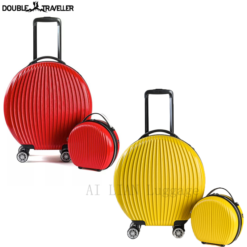 peculiar Rolling Suitcase with Cosmetic case Rounded trolley Luggage Bag set wheel Women Trolley case and Handbag kids gift