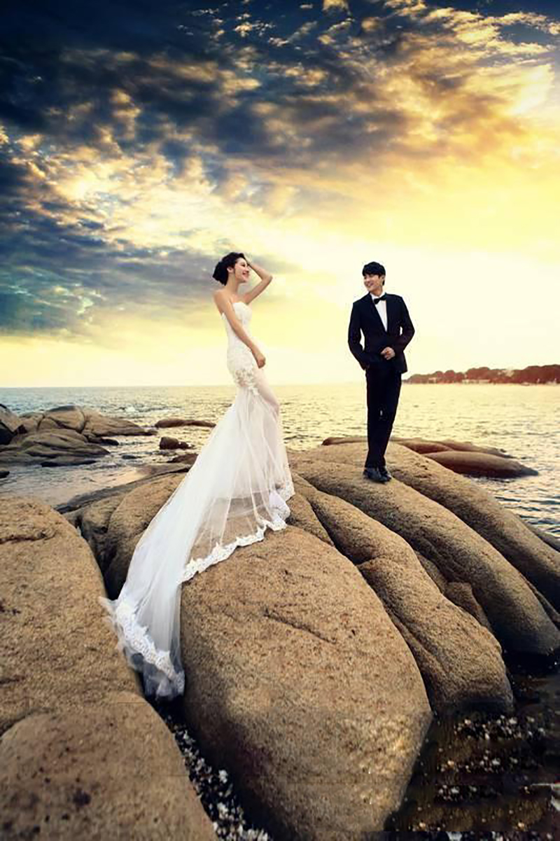 Romantique blanc sans bretelles Tulle Applique Photo Shoot robes de mariée robes de mariée robes de photographie taille personnalisée 2-18 W039
