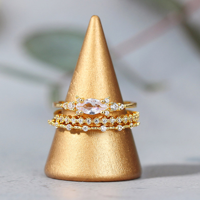 Tiny Small Ring Set For Women Gold Color Cubic Zirconia Midi Finger Rings Wedding Anniversary Jewelry Accessories Gifts KAR229 2