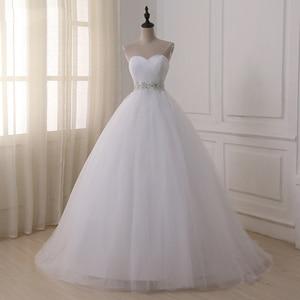 Image 1 - Jiayigong Voorraad Real Wedding Dresses Vestidos De Novia Sweetheart Sweep Trein Kant Applique Corset Trouwjurk Robe De Mariage