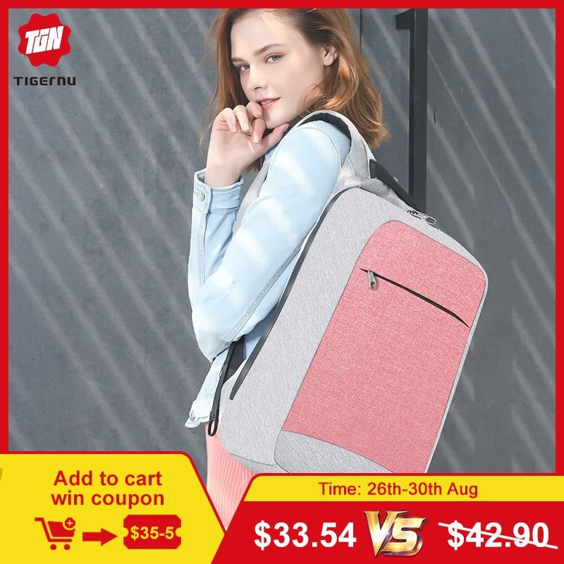 Tigernu Anti-vol mode femmes sacs à dos femme quotidien collège sac d'école pour adolescente filles 15.6 pouces sac à dos pour ordinateur portable mochila