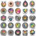 6 шт./лот, новые ювелирные браслеты с цветными кристаллами, цветок из горного хрусталя, металлические кнопки 18 мм, подходят для браслета с кно...