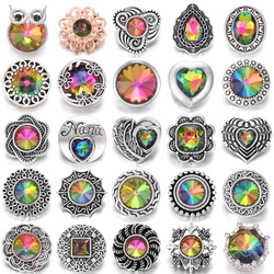 6pcs/lot Newest Snap Jewelry Bracelets Colorful Crystal Rhinestone Flower 18mm Metal Snap Buttons Fit DIY Snap Button Bracelet