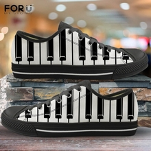 FORUDESIGNS 3D Music Notes Piano Keyboard Pattern Men Low Top Canvas Sh