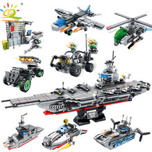 HUIQIBAO Toys 836pcs 8in1 Military USS Warship Building Blocks Set For Children Legoingly Army battleship Truck Helicopter brick(China)