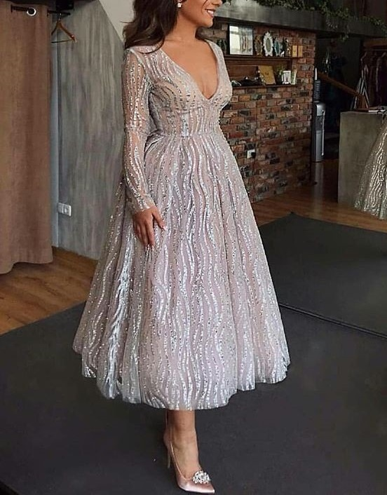 robe ceremonie femme silver pressed night party swing <font><b>formal</b></font> <font><b>dress</b></font> <font><b>women</b></font> <font><b>elegant</b></font> sexy v neck long sleeve perspective frocks <font><b>2019</b></font> image