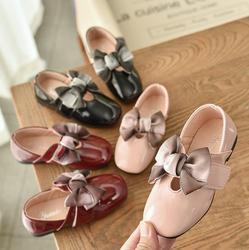 Crianças meninas brilhante pu sapatos princesa bowknot menina Sapatos casuais Plana 26-36 MQ8723 3 cores TX07