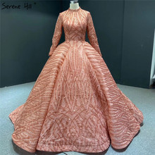 Muslim Orange High Collar Sequined Evening Dresses 2020 Long Sleeve Sparkle Luxury Bridal Gowns HA2293 Custom Made