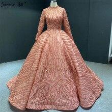 Muslimischen Orange Hohe Kragen Pailletten Abendkleider 2020 Lange Sleeve Sparkle Luxus Brautkleider HA2293 Nach Maß
