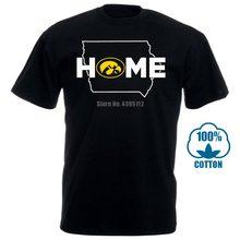 Iowa hawkeyes casa com estado outline t camisa oficialmente licenciado vestuário masculino t camisa de algodão estampado manga curta t camisa 031239