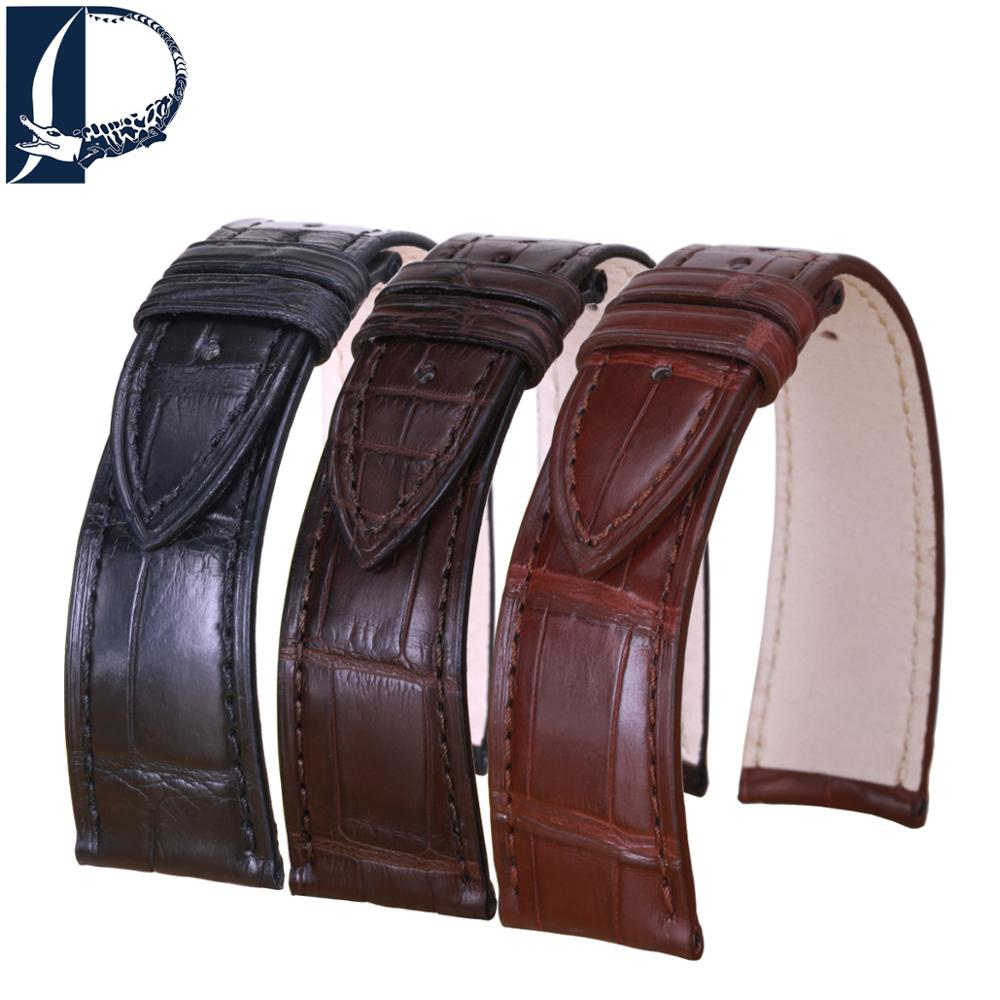 Pesno Replacement Watchbands for Jaeger-LeCoultre Master 1368420/1362501 Alligator Skin Leather Watch Strap Belt Men Accessories