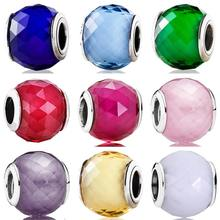 Originale Boule Forme Petite Facettes Cristal Perles Ajustement 925 Perle en Argent Sterling Bracelet À Breloques Bracelet Bijoux À Bricoler Soi-Même