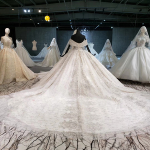 Image 2 - HTL1037 2020 새로운 볼 가운 웨딩 드레스 아가씨 칼라 어깨 위로 레이스 위로 디자인 웨딩 드레스 vestido de noiva