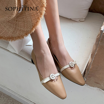 SOPHITINA New Fashion Elegant Women Pumps High Quality Cow Leather Belt Buckle Decoration Slip-On Shoes Pointed Toe Pumps PO508