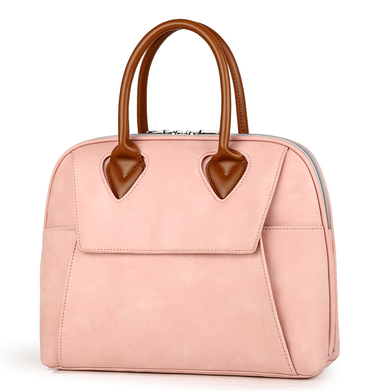 Ladies Leather Briefcase Stylish Pink Shoulder Laptop Bag For Women Waterproof 13.3 14 15.6 Business Quality Laptop Handbag Tote