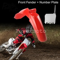 Offroad MX Dirt Bike Front Fender Front Number Plate For Honda CRF450R CRF250R CRF 250 450 2013 2017 Mudguard Name Plates