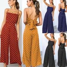 купить Goocheer arrival Women Summer Jumpsuit Sleeveless Clubwear Wide Leg Pant  Spot Outfits Dot Print Pants дешево