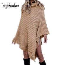 Disappearancelove Large size womens sweaters Europe and Amreica 2019 winter fashion wind irregular Turtleneck sweater shawl