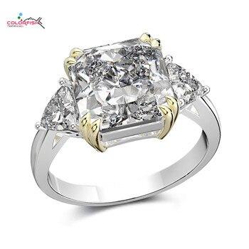 Anillo de compromiso de 3 piedras de 5ct con corte de cojín de plata sólida 925 Colorfish para mujer anillo de plata adamantinado simulado Sona