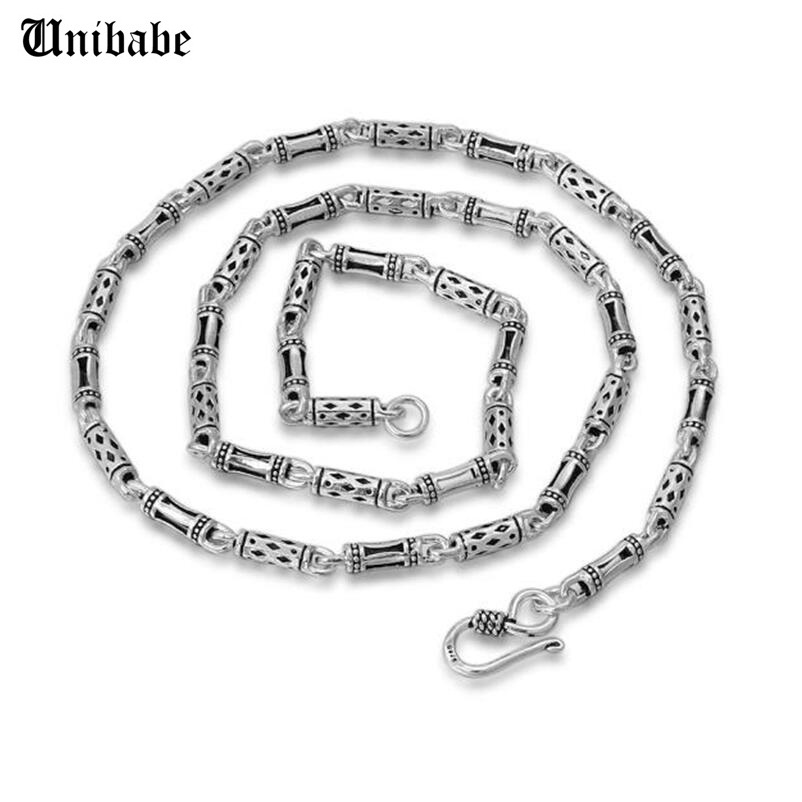 Чистое серебро, 925 пробы, серебряное мужское длинное толстое ожерелье цепочка с крестом, S925 Ретро мода, тайские серебряные ювелирные изделия (HY)
