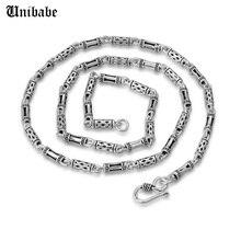 Saf gümüş 925 ayar gümüş erkekler uzun kalın çapraz bağlantı zincir kolye erkek S925 Retro moda tay gümüş takı (HY)