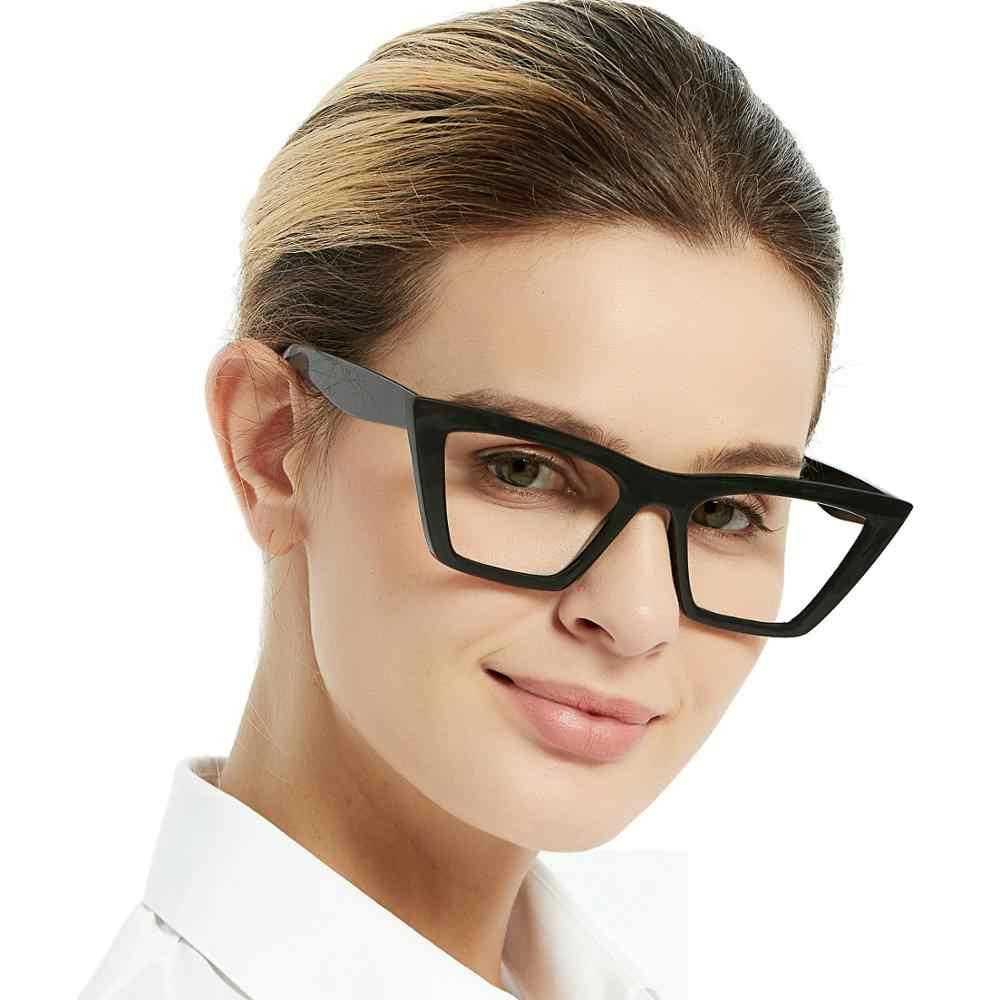 Occi chiari oversize luz azul óculos de bloqueio quadro feminino olho de gato transparente quadro óptico computador miopia óculos