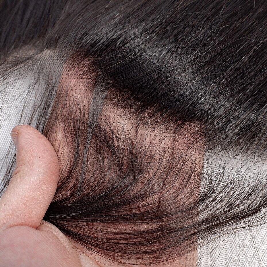 2-5-10 unids/lote de pelo liso peruano 13x4 Frontal de encaje libre de tres partes medio marrón de encaje Remy cabello humano venta al por mayor