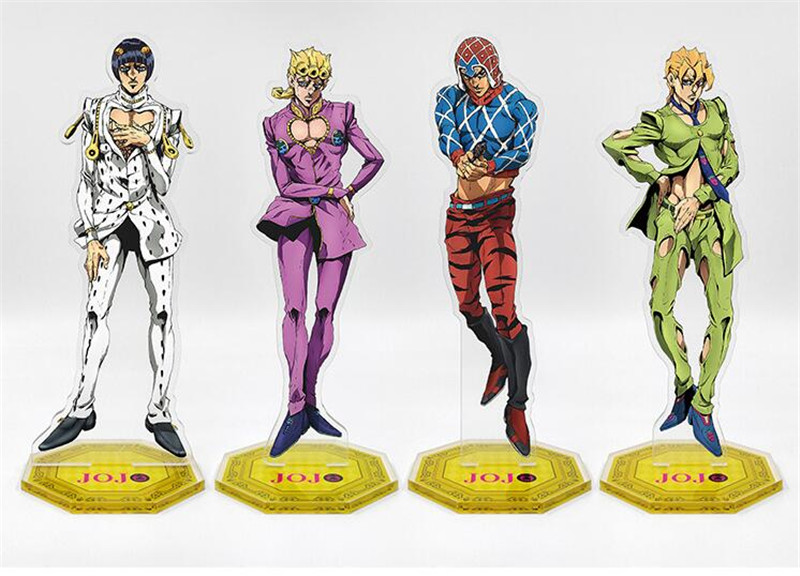 Anime Cartoon JOJO's Bizarre Adventure Golden Wind Bruno Leone Giorno Acrylic Stand Figure Halloween Cosplay Desk Stand Toy Gift