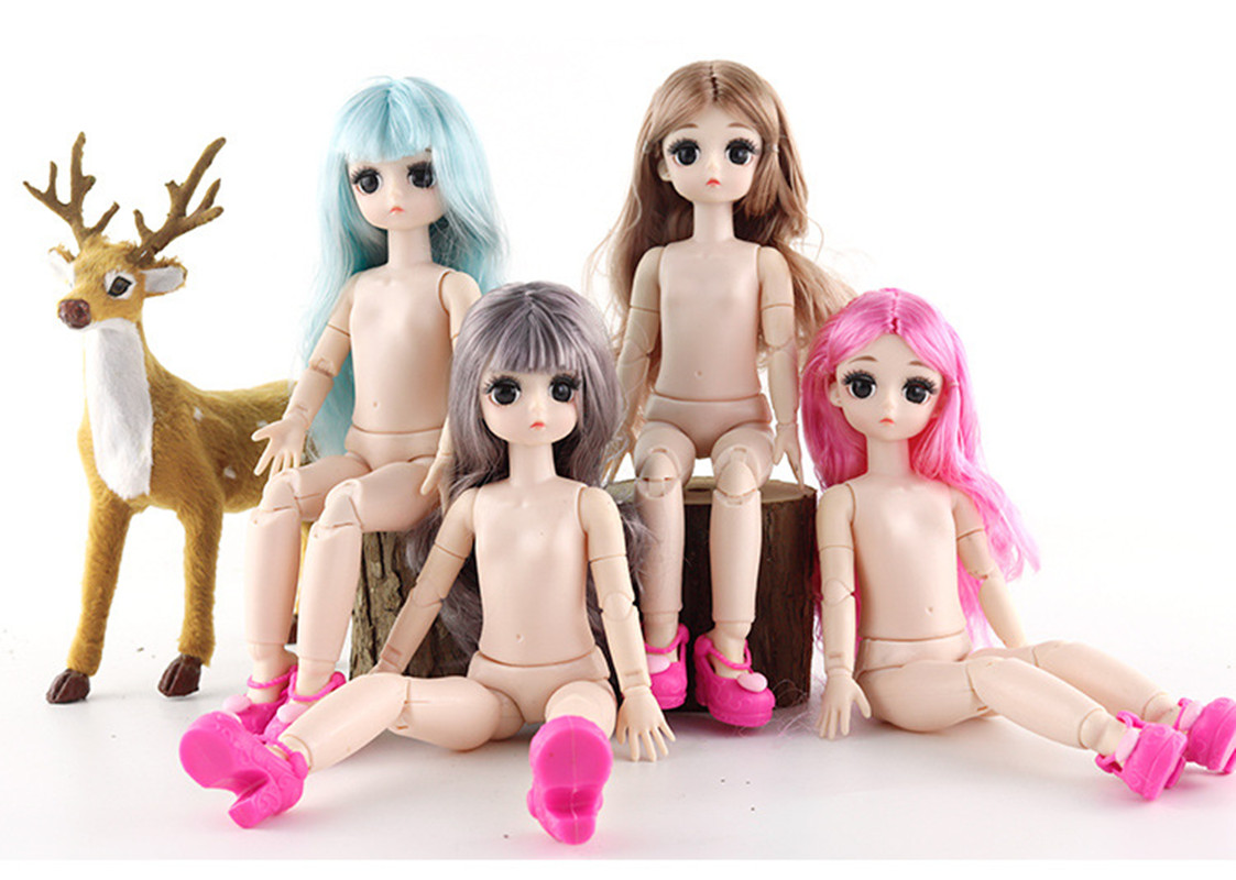 Drop Shipping 28cm BJD Dolls 4D True Eyes 21 Joints Moveable Nude Body DIY Long Hair American Girls Dolls Gift Christmas Present