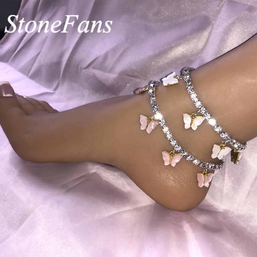Stonefans Resin Pink Butterfly Anklet for Women Wholesale Summer Bohemian Cute Crystal Rhinestone Anklets Bracelet Foot Jewelry