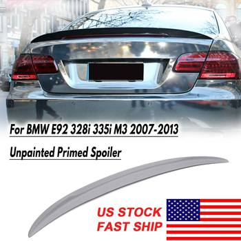 Primer Grey Rear Trunk Lid Spoiler Wing Fit for BMW E92 328i 335i M3 2007-2013 Performance Fiberglass Auto Replacement Parts image