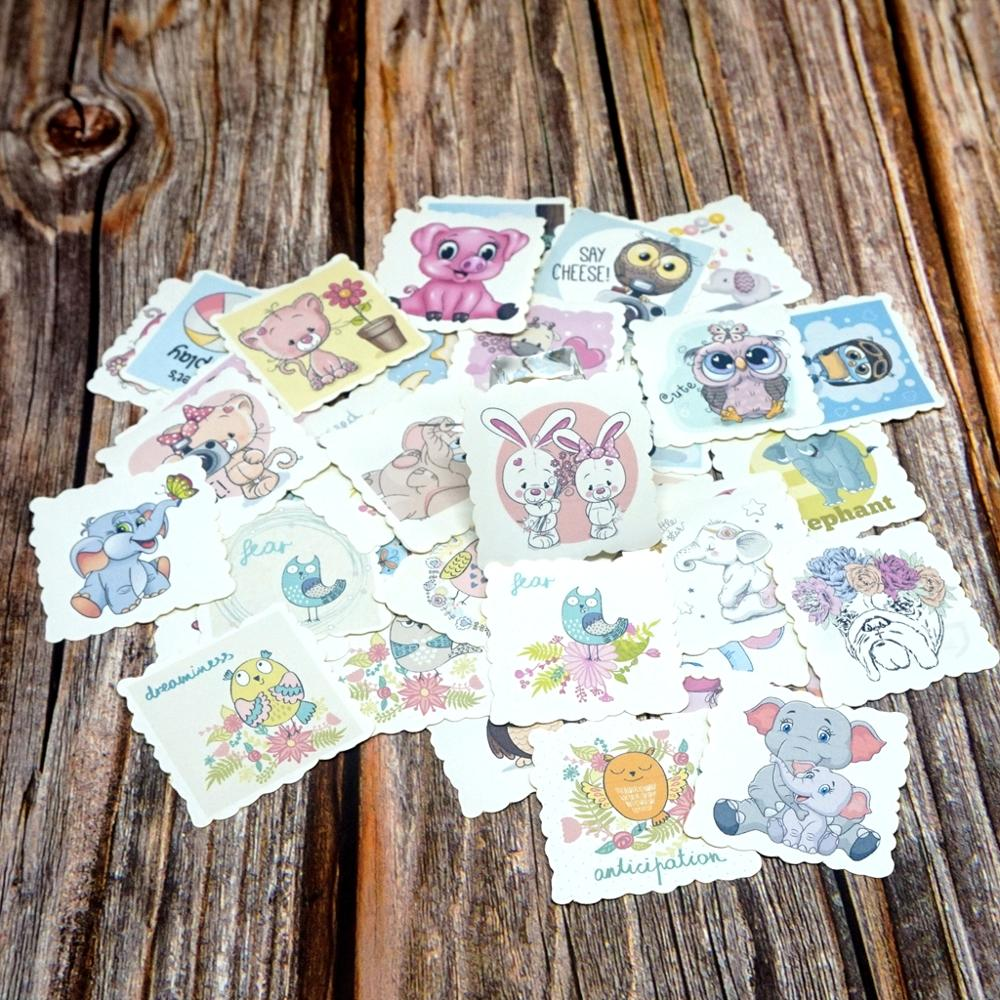 42PCS Cartoon Animal Stickers Kawaii DIY Ablum Diary Scrapbooking Stickesr Kids Children Girls Boys Students Gift Toy Stickers