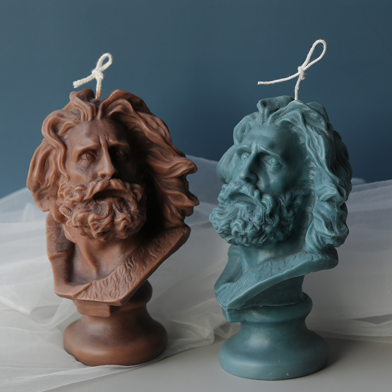PRZY Soap Mold Silicone Marseille Head Candle Moulds Large Size Plaster Statue Molds Clay Resin Moulds