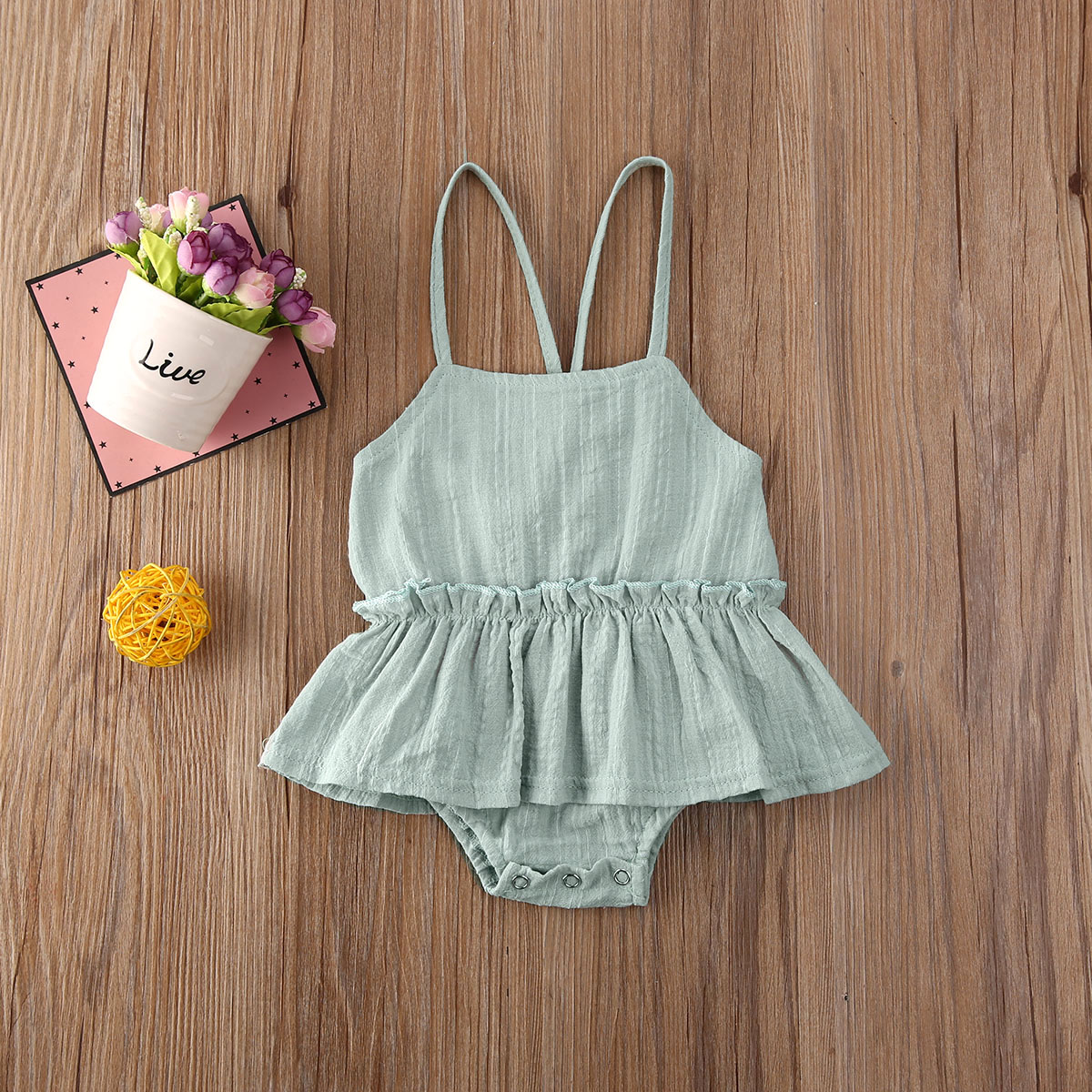 Pudcoco Newborn Baby Girl Clothes Solid Color Sleeveless Strap Ruffle Romper Jumpsuit One-Piece Outfits Cotton Clothes