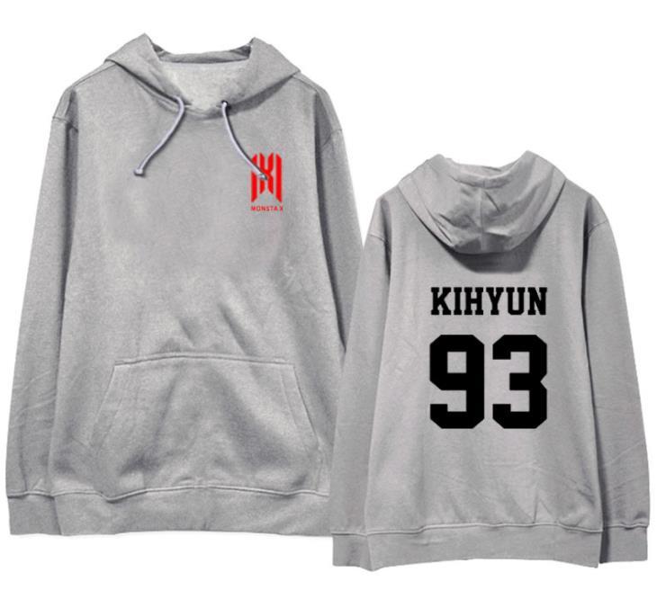 New Arrival Monsta X Concert Same Member Name Printing Pullover Hoodies Unisex Fleece/thin Loose Sweatshirt 3 Colors