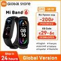 Глобальная версия Xiaomi Mi Band 6, смарт-браслет с экраном, кислородом, фитнес-тренером, пульсометром, Bluetooth, водонепроницаемый смарт-браслет 6
