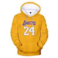 Kobe 3D Hoodies RIP Kobe Bryant Lakers 24 Hoodies Pullover Casual Men Women Sweatshirts Hip Hop Streetwear Letter Hoodies