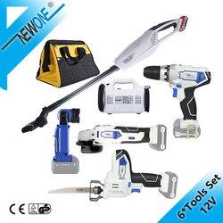 NEWONE/Keinso 12V 6-Tool Lithium Draadloze Combo Kit, haakse Slijper Elektrische Boor LED Licht Stofzuiger Elektrische Zaag